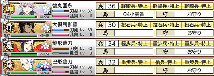 2021年9月度:大阪城攻略部隊編成3