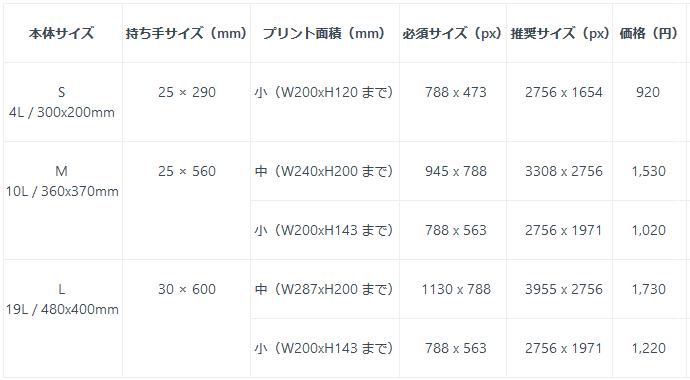 pixivfactoryトートバック仕様と値段一覧