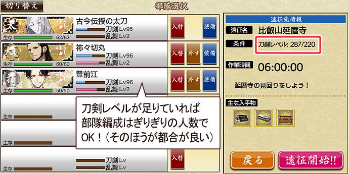 刀剣乱舞小判収集記事「入手方法:遠征2」