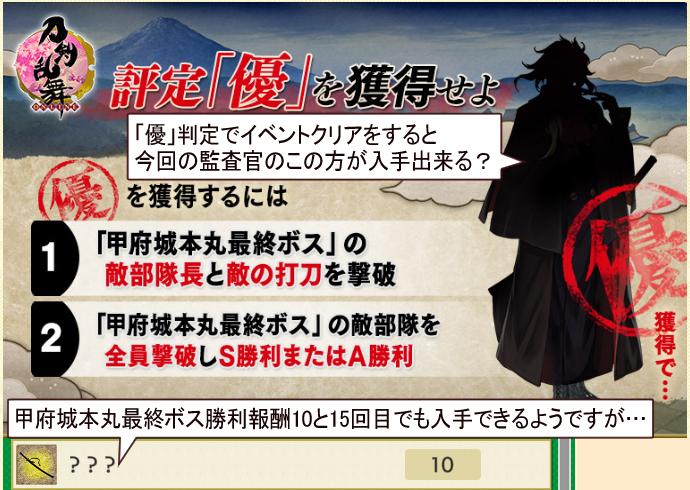 2021年1月刀剣乱舞イベント「特命調査慶応甲府」入手可能な新刀剣男士は?