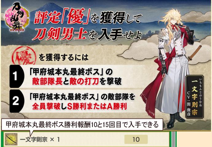 2021年6月期刀剣乱舞イベント「特命調査慶応甲府」入手可能な刀剣男士